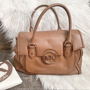 MICHAEL KORS Saddle Brown Leather Satchel Handbag